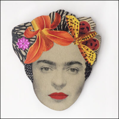frida kahlo collage brooch with orange flower and butterfly