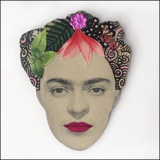 frida kahlo brooch with pink flower and leaves