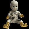 altered vintage doll 1950s, bug motif, decoupage, unique oil gilded 23 ct gold