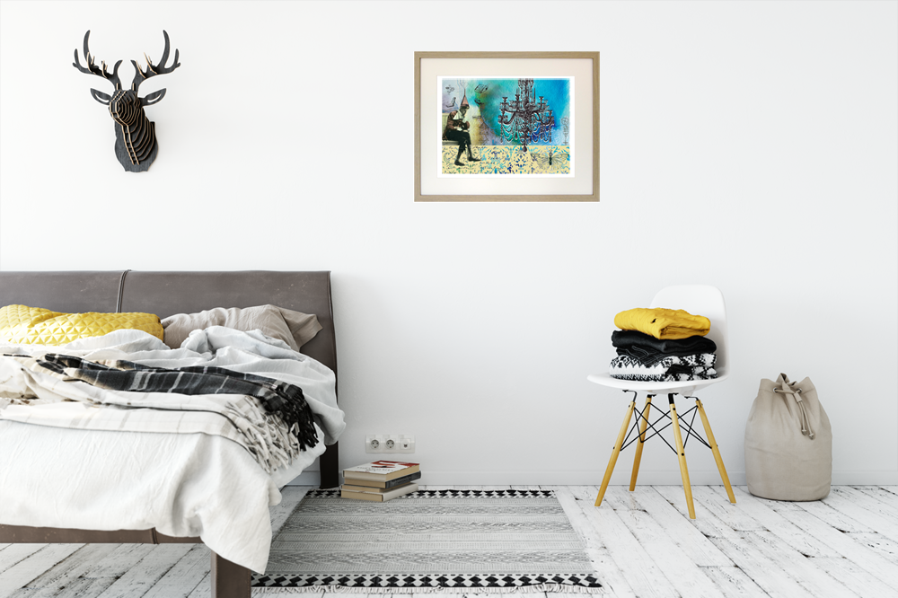 giclee print 'starter home' on bedroom wall