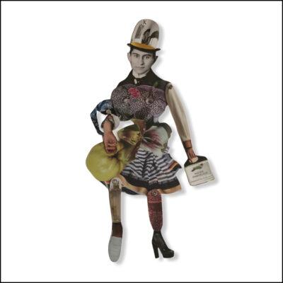 collage figure, balsa wood, man, inspired by Franz Kafka