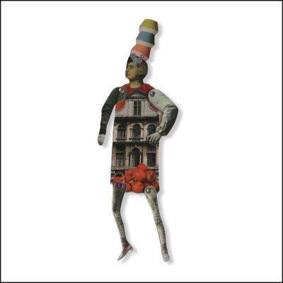 one-off original collage figure, balsa wood