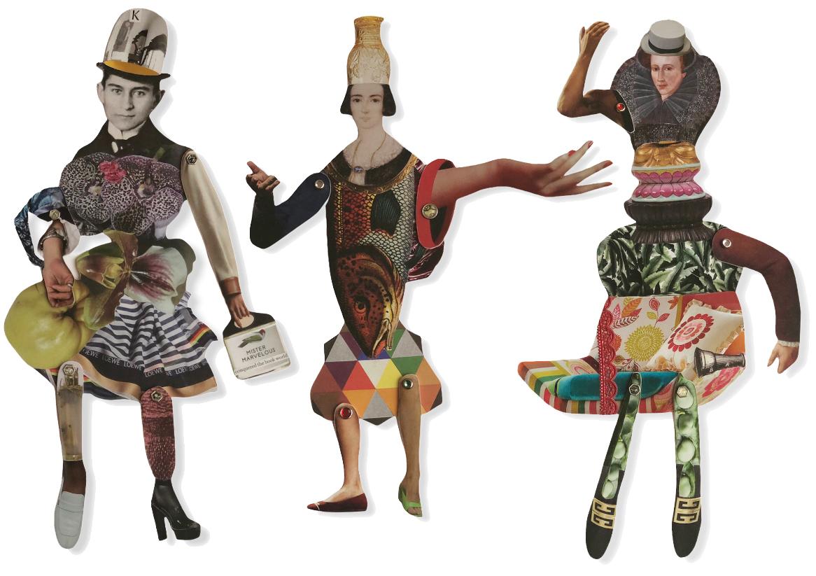 Collage dolls Gabriela Szulman Camberwell Arts open studio 26-27 June 2021